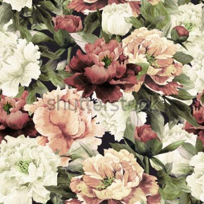 Bild Nahtloses Blumenmuster mit Rosen auf dunklem Hintergrund, Aquarell.