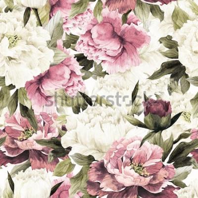 Bild Nahtloses Blumenmuster mit Rosen auf weißem Hintergrund, Aquarell.
