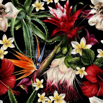 Bild Nahtloses Blumenmuster mit tropischen Blumen, Aquarell.