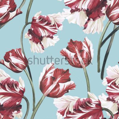 Bild Nahtloses Blumenmuster mit Tulpen, Aquarell