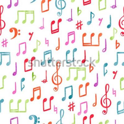 Bild Nahtloses buntes Musikanmerkungsmuster. Musikalischer Aquarellhintergrund