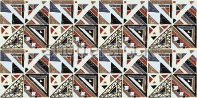 Bild Nahtloses geometrisches afrikanisches Muster. Ethnische Verzierung auf dem Teppich. Aztekischer Stil. Stammes- ethnische vektorbeschaffenheit. Stickerei auf Stoff. Indisches, mexikanisches, Volksmuste