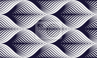 Nahtloses geometrisches Muster. Geometrischer einfacher Modedruck. Vektor, der Fliesenbeschaffenheit wiederholt. Dachfliesen oder Fisch Squama Formen Motiv. Einfarbig, schwarz und weiß.
