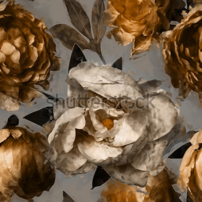 Bild nahtloses mit Blumenmuster der Kunstweinlese mit Weiß und Goldpfingstrosen auf grauem Hintergrund