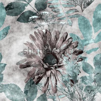 Bild nahtloses mit Blumenmuster des Kunstweinleseaquarells bunten mit großem Gerbera, Blättern und Gräsern auf Hintergrund