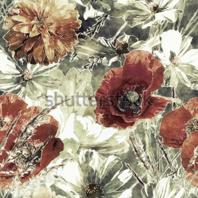 Bild nahtloses mit Blumenmuster des Kunstweinleseaquarells buntes mit roten und weißen Mohnblumen, Pfingstrosen, Astern, Blättern und Gräsern auf dunkelgrünem Hintergrund