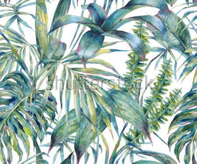 Bild Nahtloses Muster der natürlichen Blätter exotisches Aquarell, grüne tropische Blätter, Farn, dichter Dschungel, handgemalte botanische Sommerillustration auf weißem Hintergrund