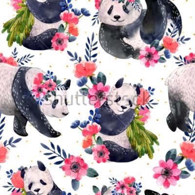 Bild Nahtloses Muster des Aquarells mit den Pandas und Blumen lokalisiert auf einem weißen Hintergrund. Goldene Sterne im Hintergrund. Aquarell Abbildung.