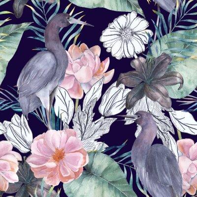 Bild Nahtloses Muster des Aquarells mit Tintenelementen. Exotische Vögel und Blumen. Hand gezeichnete Illustration