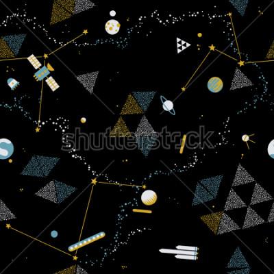 Bild Nahtloses Muster des Babys - Raum, Raumschiffe und Planeten mit Sternen. Modischer Kindervektorhintergrund.