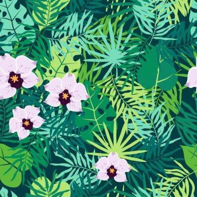 Bild Nahtloses Muster des Dschungels mit tropischen Blättern und Orchidee.