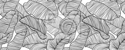 Bild Nahtloses Muster, Hand gezeichnete schwarze Tinten-Bananenblätter des Entwurfs auf weißem Hintergrund