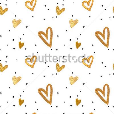 Bild Nahtloses Muster in den Goldherzen Zeichnen freihändige Bürstenart. Vektor metallische Darstellung.