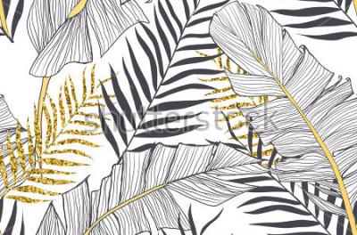 Bild Nahtloses Muster mit Banane und goldenen Palmblättern im Vektor