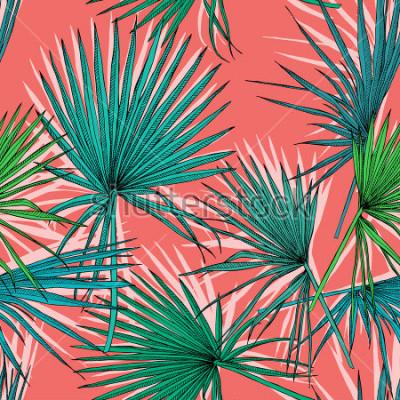 Bild Nahtloses Muster mit Bild eines grünen Fanpalms verlässt auf einem korallenroten Hintergrund. Vektor-Illustration