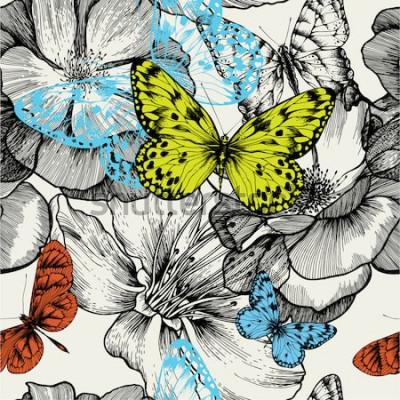 Bild Nahtloses Muster mit blühenden Rosen und fliegenden Schmetterlingen, Handzeichnung. Vektor-illustration