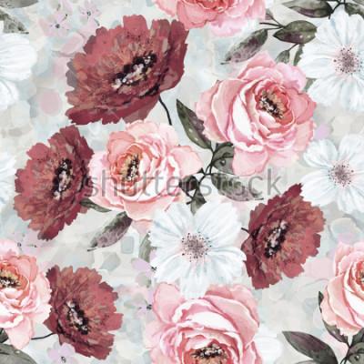 Bild Nahtloses Muster mit Blumen und Blättern. Blumenhintergrund für Tapete, Papier und Gewebe. Aquarellmalerei mit rosa und burgunderrosen.