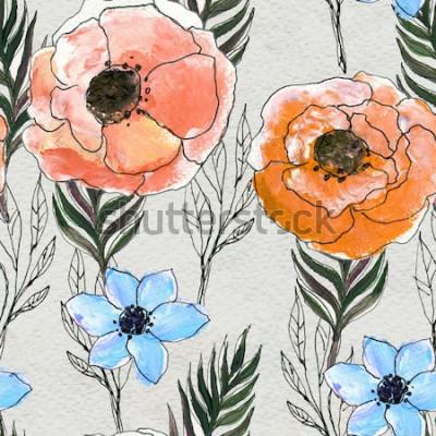 Bild Nahtloses Muster mit bunten Blumen