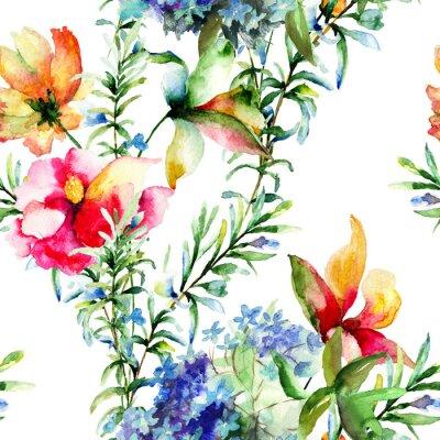 Bild Nahtloses Muster mit Dekorative Sommerblumen