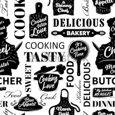 Bild Nahtloses Muster mit dem Kochen von Gegenständen. Vektor-illustration