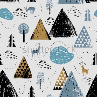 Bild Nahtloses Muster mit einer Berglandschaft, einem René und einem Wald. Perfekt für Karten, Einladungen, Tapeten, Banner, Kindergarten, Baby-Dusche, Kinderzimmerdekoration. Skandinavische Landschaft.