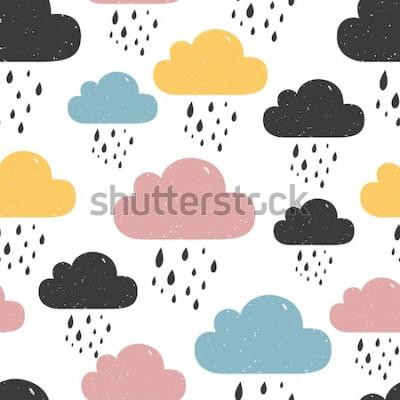 Bild Nahtloses Muster mit farbigen regnerischen Wolken. Vektor-illustration