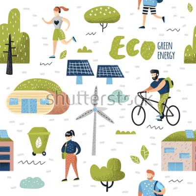 Bild Nahtloses Muster mit grüner Stadt. Umweltschutz. Zukunftstechnologien von Eco City zur Erhaltung des Planeten. Ökologie-Hintergrund für alternative Energien. Vektor-Illustration