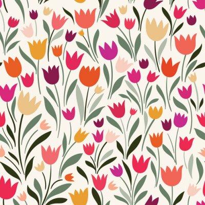 Bild Nahtloses Muster mit Hand gezeichneten Tulpen