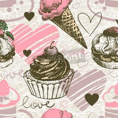 Nahtloses Muster Mit Handgezeichneten Eis Und Kuchen Liebe