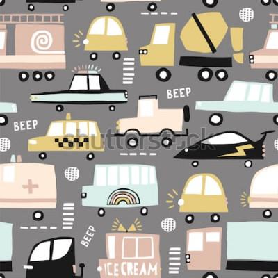 Bild Nahtloses Muster mit niedlichen Autos. Karikaturautos, Straßenluken, Zebrastreifenvektorillustration. Perfekt für Kinder Stoff, Textil, Kinderzimmer Tapete. Vektor-Illustration.