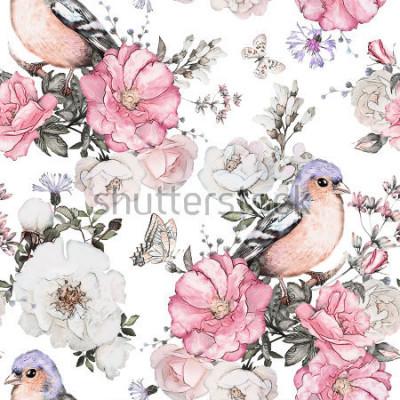 Bild Nahtloses Muster mit rosa Blumen, Vogel - Fink und Blättern auf weißem Hintergrund, Aquarellblumenmuster, Blume stieg in Pastellfarbe, Fliese für Tapete, Weinlesekarte oder Gewebe