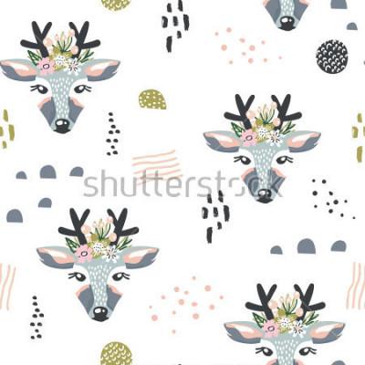 Bild Nahtloses Muster mit Rotwild, Blumenelemente, Niederlassungen. Kreativer Waldhintergrund. Vervollkommnen Sie für Kinderkleid, Gewebe, Gewebe, Kinderzimmerdekoration, Packpapier. Vektor-Illustration