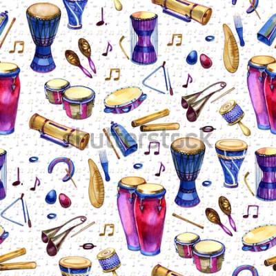 Bild Nahtloses Muster mit Trommeln in der Aquarellart auf weißem Hintergrund. Percussion Musikinstrumente. Bunter Entwurf für Retro Party in der Memphis-Art. Illustration