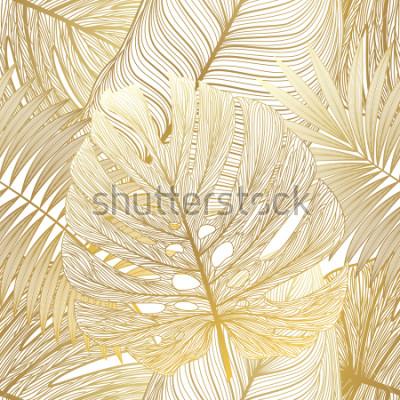 Bild Nahtloses Muster mit tropischer Blattpalme. Vektor-illustration