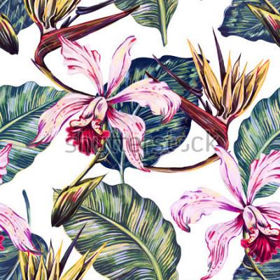 Bild Nahtloses tropisches mit Blumenmuster, Sommerhintergrund mit exotischen Blumen, Palmblätter, Dschungelblatt, Orchidee, Paradiesvogelblume. Botanische Tapete, Illustration im hawaiianischen Stil