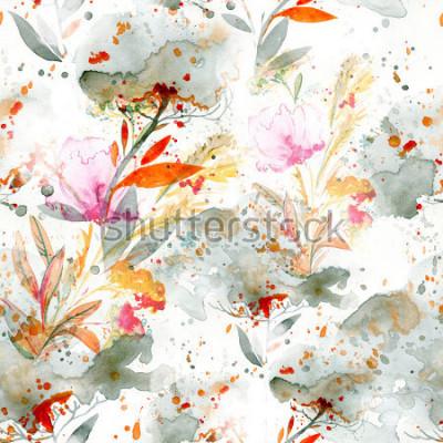 Bild naives Aquarell - Gießen und Spritzen. florale Motive. handgemaltes nahtloses Muster. Hintergrund für Textildekor und Design. botanische Tapete. Boho Chic Art Blumenrahmen