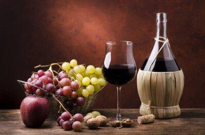 Bild Natura morta con Fiasko di vino efrutta
