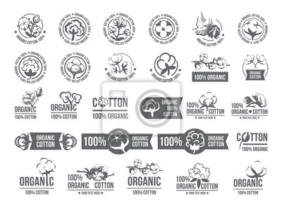 Bild Natural organic cotton, pure cotton vector labels set. Hand drawn, typographic style icons or badges, stickers, signs. Isolated white background