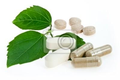 Natürliche Pillen mit grünem Blatt