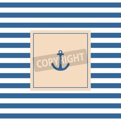 Bild Nautik-Vektor-Karte oder Einladung mit Anker Pastell Hintergrund und blauen weißen Streifen