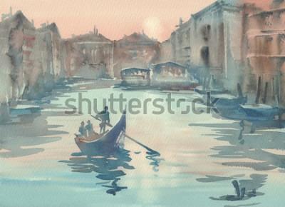 Bild Nebel-Aquarelllandschaft Venedigs Skizze morgens mit einer Gondel