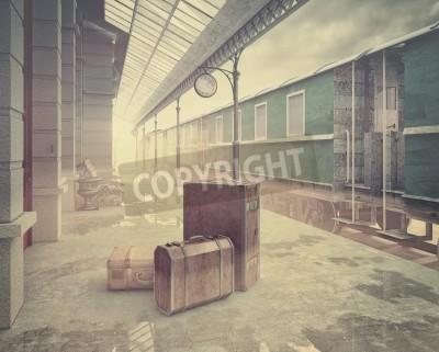 Bild Nebel auf der Retro-Bahnstation .Vintage Farbe Stil 3D-Konzept