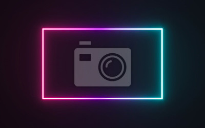 Bild Neon frame sign in the shape of a rectangle. 3d illustration