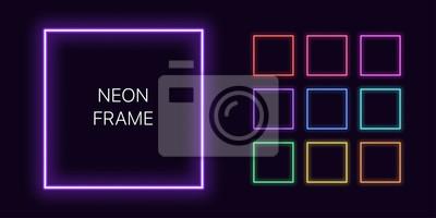 Bild Neon monochrome square Border with copy space. Templates set