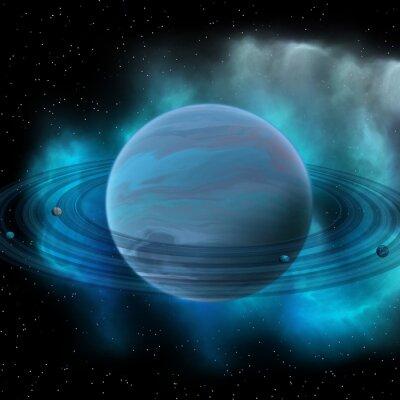 Bild Neptun Planet - Neptun ist der acht Planet in unserem Sonnensystem und hat Planetenringe und einen großen dunklen Punkt, der einen Sturm auf seiner Oberfläche anzeigt.