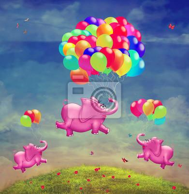 Nette Abbildung der fliegenden Elefanten mit Ballonen im Himmel