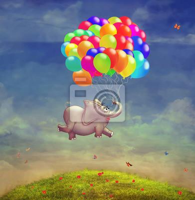 Nette Abbildung eines fliegenden Elefanten mit Ballonen im Himmel