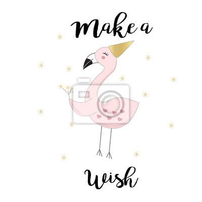 Nette Flamingo Hintergrund Hand Gezeichnet In Vektor Leinwandbilder