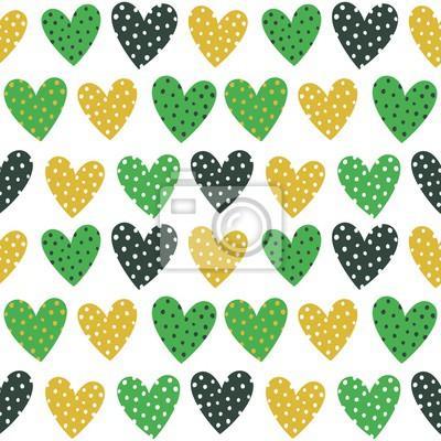 Nette grüne und gelbe Herzen mit Punkte Nahtlose Muster
