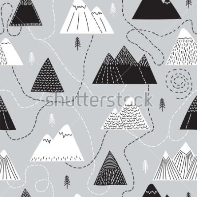 Bild Nette Hand gezeichnetes nahtloses Muster mit Bäumen und Bergen. Kreativer skandinavischer Waldhintergrund. Wald. Stilvolle Skizze Vektor-Illustration